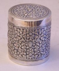 French Colonial Indochine silver tea cannister 19th century