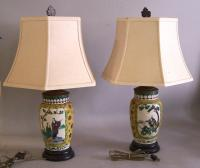 Pair of Chinese Kangxi style porcelain lamps