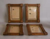 Set of four matching hand carved oak frames c 1885
