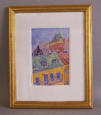 Katherine Nilsson watercolor of Hotel Frontenac Old Quebec
