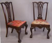 Pair of mahogany ball and claw foot Chippendale side chairs c1875