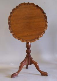 Period diminutive walnut piecrust tilt top tripod candlestand c1800
