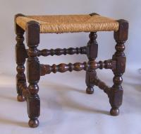 Early English country oak joint stool with rush seat c1750