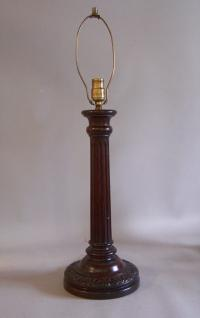 Wood column lamp made from walnut c1900