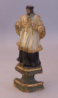 Spanish carved painted figure of San Ramon 18th c