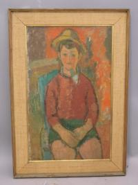 Portrait of a boy oil on canvas by Sigmund Landau c1930 to1950