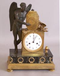 French Empire bronze and marble shelf clock c1820