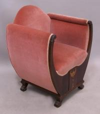 French Art Deco inlaid upholstered side chair c1900