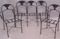 Wrought iron patio set winged owls c1920 Couch and 2 chairs