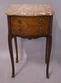 French 2 drawer stand parquet veneers pink marble top c1900
