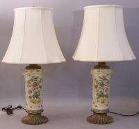 Japanese Satsuma vase electrified into lamps c1900