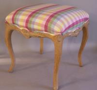 Square hand carved wood bench pink plaid upholstery from Wicker Works