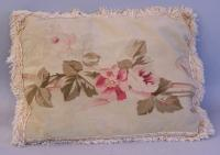 Antique French Aubusson pillow made from 19th century fabric