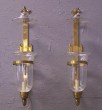Pair large brass wall sconces with tulip globes and smoke bells