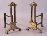 Pair French Neo Classical style double pillar fireplace Chenets