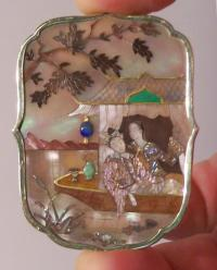 Chinese inlaid brooch set with gold and mother of pearl