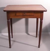French  Swiss walnut work table circa 1820 Lausanne label