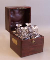 Boxed set of four crystal decanters Tantalus c1900