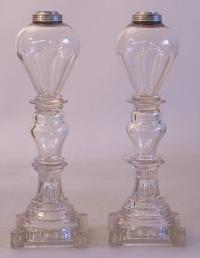 Pr antique Sandwich glass clear blown and cut glass oil lamps