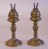 Pair of early American brass oil lamps c1820