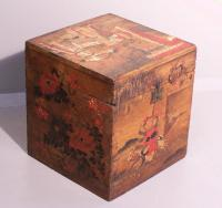 Antique Chinese wood tea box with painted decoration c 1820 to 1850