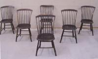 Set of 6 period American country painted maple Windsor Chairs