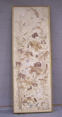 Chinese silk panel with birds and swans late 19thc