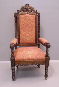 American Victorian bobbin turned upholstered arm chair 1860