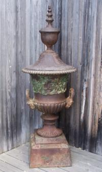 Victorian Cast iron garden urn with cover c1870
