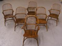Set of six reproduction English Windsor elm arm chairs