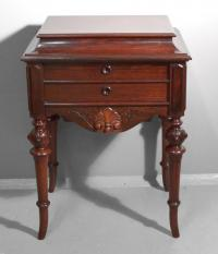 American Victorian lift top rosewood sewing stand c1860