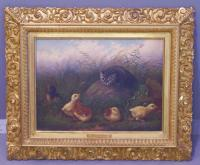Howard Hill oil on canvas painting of a cat with chicks