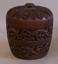 Carved wood covered container box