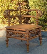 Heywood and Morril Rattan Company wicker corner chair