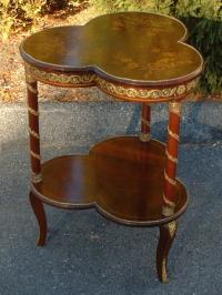 Antique French inlaid mahogany clover leaf table c1880