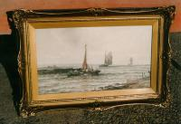 English seascape watercolor S.A. Mulholland