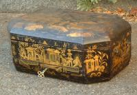 Antique paper mache chinoiserie sewing box c1840