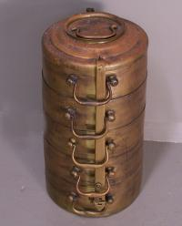 Antique brass stacking food carrier