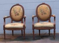 Pair of matching French embroidered chairs c1880