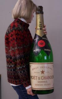 Huge Moet Chandon Champagne advertising bottle