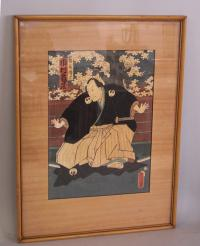 19th century Japanese samurai wood block print