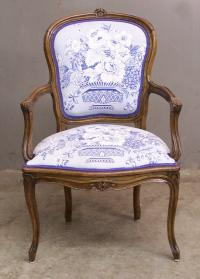19th Century French fruitwood upholstered arm chair