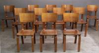 Set of twelve Modern Thonet maple bentwood side chairs