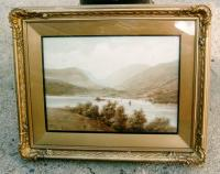 Antique mountain scene watercolor A.Fleming