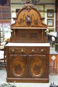 Victorian walnut marble top server with game bird c1865