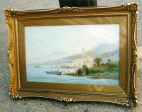 Italian art lake scene watercolor F. Catano