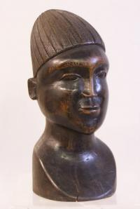 African carved wood head sculpture c1950