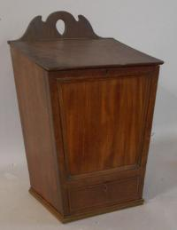 Early English country mahogany hanging candle box c1790