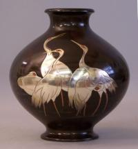 Contemporary Japanese Bronze and Silver vase in the Meiji style