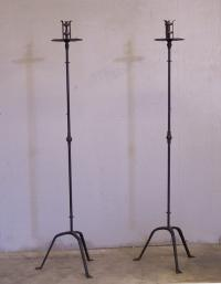 Pair of wrought iron torcheres c 1900